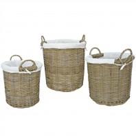 Set of 3 Lined Wicker Log Baskets
