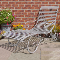 """Shabby Chic"" Grey Sun Lounger"