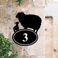 Sheep & Lamb Iron House Number Sign