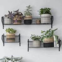 Black Wire Wall Mounted Basket Shelf by Garden Trading