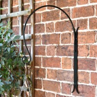 'Shepherds Crook'  Hanging Basket Wall Bracket - Black