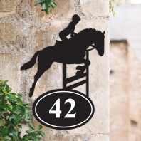 Showjumping Horse Iron House Number Sign