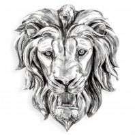 Silver Effect Lion Wall Bust - 48.5cm