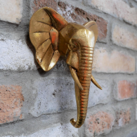 Gold Elephant Head Wall Art - 21cm