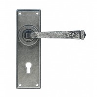 Simple Contemporary Pewter Lever Handle With Keyhole