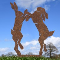 Rustic Simplistic Boxing Hares Silhouette