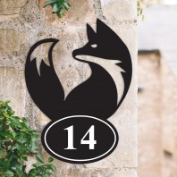 Simplistic Fox Iron House Number Sign