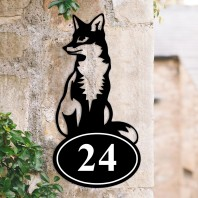 Sitting Fox Iron House Number Sign