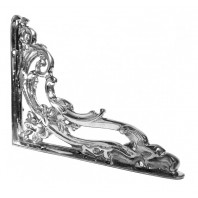 """Victorian Amalina"" Bright Chrome Ornate Scroll Bracket 24 x 19cm"