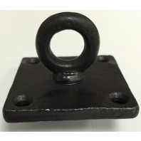 Small Antique Black Iron Ceiling Eyelet Hook On Square Backplate