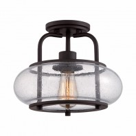 """Winshurst Avenue"" Single Bulb Antique Bronze Ceiling Light"