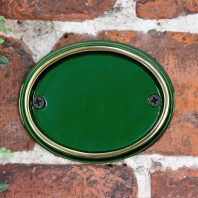 Blank Brass & Green Oval House Number Plaque