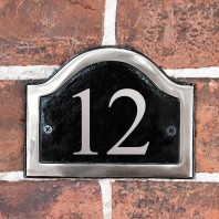 Black & Chrome Arched Number Sign - Vinyl Numbers