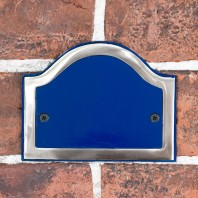 Blank Arched House Number Plaque - Blue & Bright Chrome