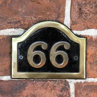Arched House Number Sign - Black & Brass