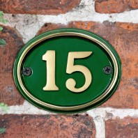 Polished Brass & Green Cast Oval House Number Sign