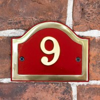 Arched House Number Sign - Claret & Brass