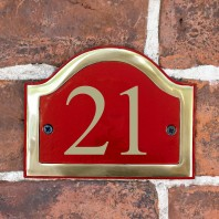 Claret & Brass Arched Number Sign - Vinyl Numbers