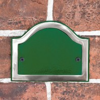 Blank Arched House Number Plaque - Green & Chrome