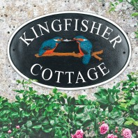 """""""Kingfisher"""" Cast Iron Effect Oval House Name Sign- Vinyl Letters"""
