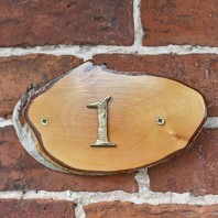 Natural Hard Wood Rustic House Number Sign - 1