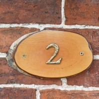 Natural Hard Wood Rustic House Number Sign - 2