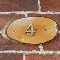 Natural Hard Wood Rustic House Number Sign - 4