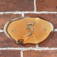 Natural Hard Wood Rustic House Number Sign - 5