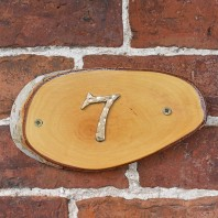Natural Hard Wood Rustic House Number Sign - 7