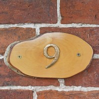 Natural Hard Wood Rustic House Number Sign - 9
