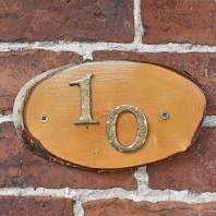 Natural Hard Wood Rustic House Number Sign - 10