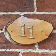 Natural Hard Wood Rustic House Number Sign - 11