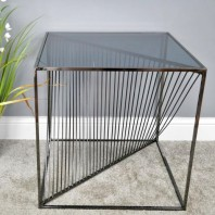Square steel & Glass Contemporary Side Table