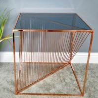 Square Copper Finish & Glass Contemporary Side Table