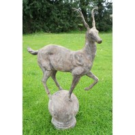 """Rudenko Deer Young"" Cast Iron Deer Mounted onto an Integral Ball Plinth"