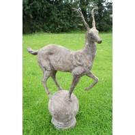 """""""Rudenko Deer Young"""" Cast Iron Deer Mounted onto an Integral Ball Plinth"""