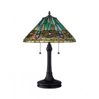 """""""Roveswick Gardens"""" Stained Glass Dragonfly Table Lamp"""