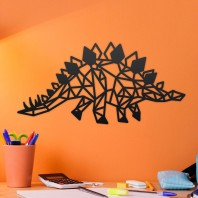 Geometric Steel Stegosaurus Wall Art - 17cm