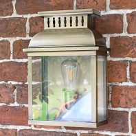 """Stoneford Park"" Antique Brass Half Wall Lantern"