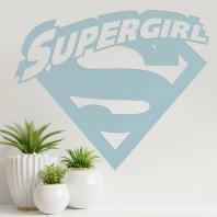 'Supergirl' Wall Art - Light Blue