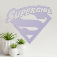 'Supergirl' Wall Art - Light Lilac