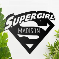 'Supergirl' Personalised Wall Art - Black