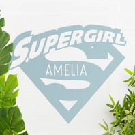 'Supergirl' Personalised Wall Art - Light Blue