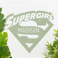 'Supergirl' Personalised Wall Art - Light Green