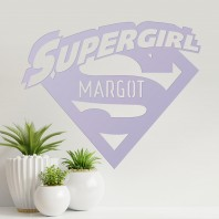 'Supergirl' Personalised Wall Art - Light Lilac
