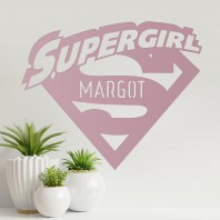 'Supergirl' Personalised Wall Art - Dusk Pink