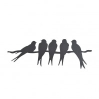 """Swallows on Wire"" Silhouette Wall Art"
