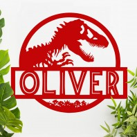 Dino Name Wall Art - Red