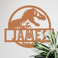 Dino Name Wall Art - Rustic