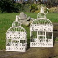 The Kenton' Pair Of Vintage Style White Bird Cages